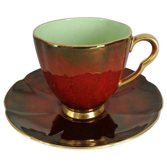 Carlton Ware Rouge Royale Cup & Saucer with Green Interior