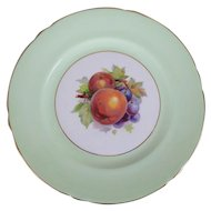 Shelley English Bone China Green Gainsborough Plate with Fruit Center, 8""