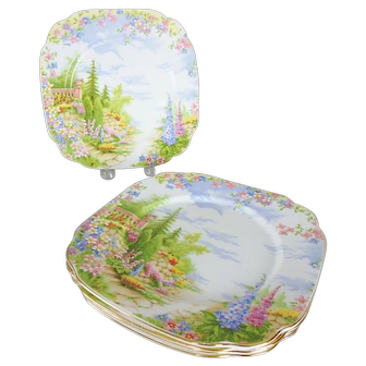 "6 Royal Albert Crown Bone China Kentish Rockery Salad Plates, 7-3/4"" Square"