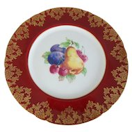 Shelley English Bone China Fancy Red & Gold Fruit Plate, 8-1/4""