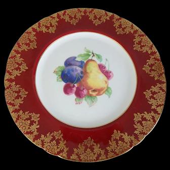 "Shelley English Bone China Fancy Red & Gold Fruit Plate, 8-1/4"""