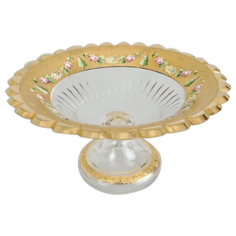 Gilded Bohemian Cut Glass Compote with Enamel Floral Accents
