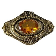 Victorian Fancy Beaded Brass Brooch with Faceted Amber Glass Stone