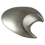 Signed Chelo Sastre Brushed Sterling Silver Abstract Moon Pin
