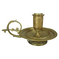 Solid Brass Finger Hold Chamber Stick Candleholder with Victorian Style Detail