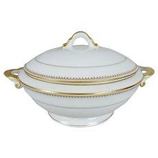Large Chastagner Limoges French Porcelain White & Gold Covered Tureen