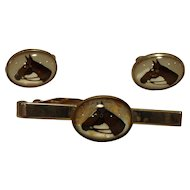Lucite Bubble Horse Motif Cuff Links and Tie Clip Set