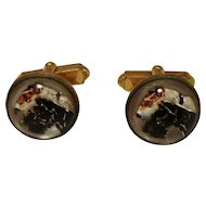 Lucite Bubble Black and White Terrier Dog Cuff Links