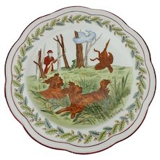 Wedgwood Etruria October 1st Plate showing Pheasant Hunting with Dogs
