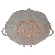 Elegant Lancaster Pink Depression Glass Dart Pattern Handled Cake Plate