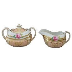 Grosvenor Melrose English Bone China Covered Sugar Bowl and Creamer