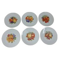 Six Waldsassen Bareuther Bavaria Germany Fruit Decorated Dessert Plates