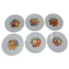 Six Waldsassen Bareuther Bavaria Germany Fruit Decorated Dessert Plates