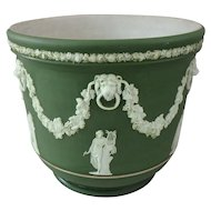 19th C. Wedgwood Olive Green Jasperware Dip Jardiniere with Swags and Greek Muses