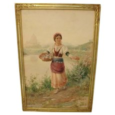 Circa 1912 Luigi Olivetti Watercolor of a Young Woman Gathering Flowers Near Basilica