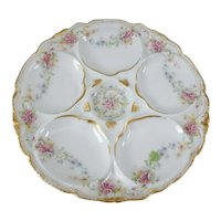 Theodore Haviland Limoges Oyster Plate, Pink Yellow, and Blue Floral Detail