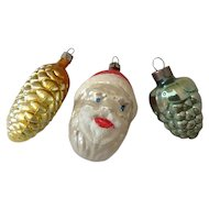 3 Vintage Christmas Mercury Glass Ornaments – Santa Head, Pine Cone, Grapes