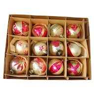 "Box of 12 Hand Painted Glass Christmas Ornaments, 2-1/2"" Round, Pink & Silver"
