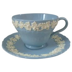 Wedgwood Lavender Blue Queensware Shell Cup and Saucer Set