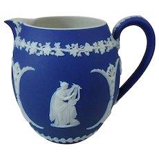 Dark Blue Wedgwood Jasperware  Round Milk Jug  Pitcher