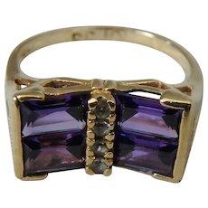 Modernist Amethyst Baguette 10K Gold Ring, Size 6.5