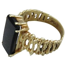 14K Gold Brutalist Ring with Large Onyx Stone, Size 6.75