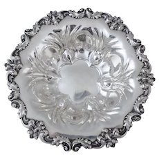 Large High Relief Oak Leaf and Acorn Sterling Silver Bowl, 19th C. Meriden Brittannia Co.