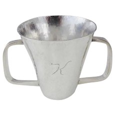 Arts & Crafts Sterling Silver Hand Hammered Loving Cup, Artisan P.L. Bryant