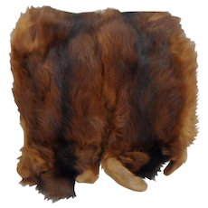 Circa 1900 Mink Fur and Pleated Brown Satin Hand Warmer Muff