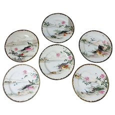 """6 Japanese 7-1/4"""" Plates with Hand Painted Fish, Oysters, and Birds"""