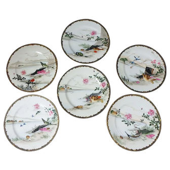 "6 Japanese 7-1/4"" Plates with Hand Painted Fish, Oysters, and Birds"