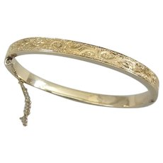 14K Gold Engraved Hinged Bangle Bracelet