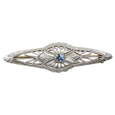 14K Filigree Art Deco Bar Pin with Blue Topaz