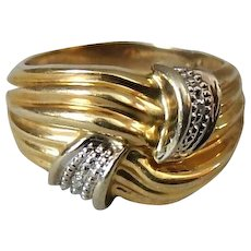 10K Two Tone 10K Gold Ring with Diamonds Set in Twist Top, Size 7