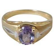 10K Two Tone Brushed Gold Amethyst Ring, Size 9.75