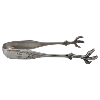 19th C. Wendt Florentine Sterling Silver Tongs for Shreve Crump & Low