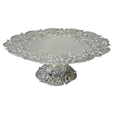 Large Sterling Silver Tazza with Pierced Lattice Detail