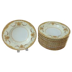 12 Vintage Occupied Japan Noritake Camilla Pattern Rimmed Soup Bowls