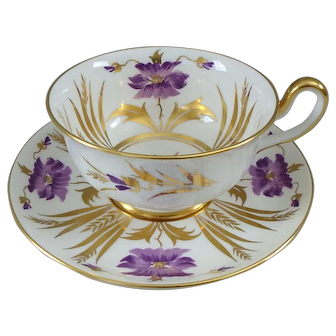 Royal Chelsea No. 182 AM Hand Painted Purple Flower Cup & Saucer
