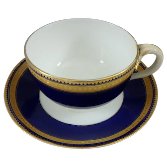 Brown Westhead Moore & Co. Cobalt and Gold Gilt Cup & Saucer