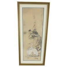 Signed Asian Painting on Silk of Ibis Crane Birds