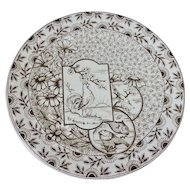 Ridgways Stoke on Trent Devonshire Brown Transferware Plate