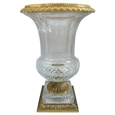 "Large French Diamond Cut Crystal Dore Bronze Urn Shaped Vase, 13.5""H"
