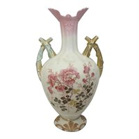 "Antique Robert Hanke 12-3/4""H Handled Austria Porcelain Vase"