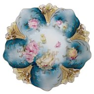 R.S. Prussia Lily Embossed Bowl with Blue Ground and Pink Roses