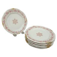 6 Bawo & Dotter Elite Limoges Bread Plates with Pink Carnation Garland and Pinwheel