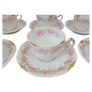 10 Bawo & Dotter Elite Limoges Demitasse Cups and Saucers with Pink Carnations