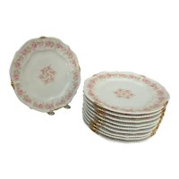 """10 Bawo & Dotter Elite Limoges 8-5/8"""" Salad Beaded Plates with Pink Carnations"""
