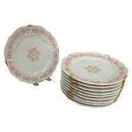 "10 Bawo & Dotter Elite Limoges 8-5/8"" Salad Beaded Plates with Pink Carnations"