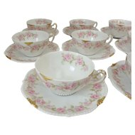 8 Bawo & Dotter Elite Limoges Tea Cups and Saucers with Pink Carnation Detail